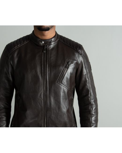 438c3d75178 Belstaff 'v-racer' Café Racer Jacket Dark Brown in Brown for Men - Lyst