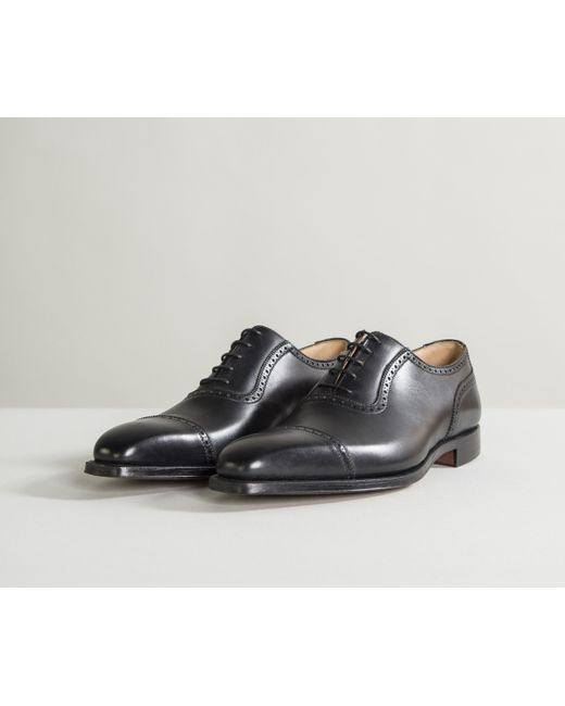 06ae93f99f4aea ... Crockett and Jones 'westbourne' Calf Leather Punched Toe Cap Shoes  Black ...