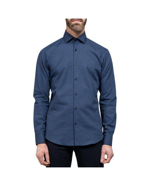 BOSS Blue 'gordon' Geometric Print Shirt Navy for men