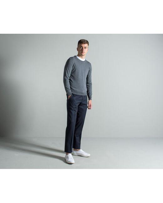 BOSS - Gray 'leno-b' Classic Crew Neck Knit Mid Grey for Men - Lyst