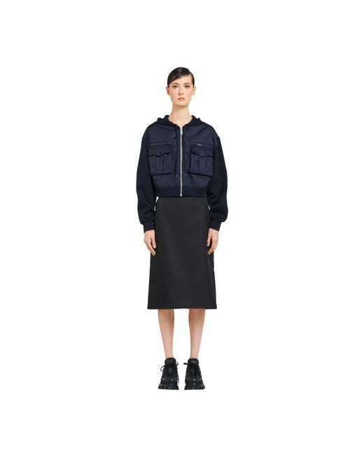 Prada Blue Technical Cotton And Nylon Gabardine Jacket