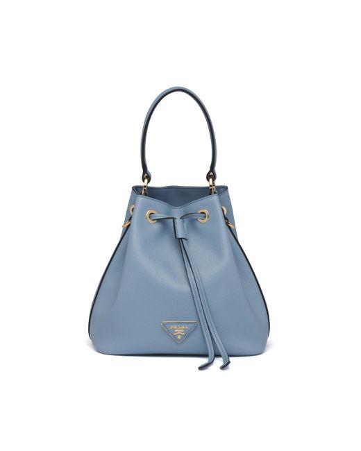 Prada Blue Saffiano Leather Bucket Bag