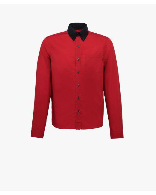 Prada - Red Cotton Poplin Shirt for Men - Lyst