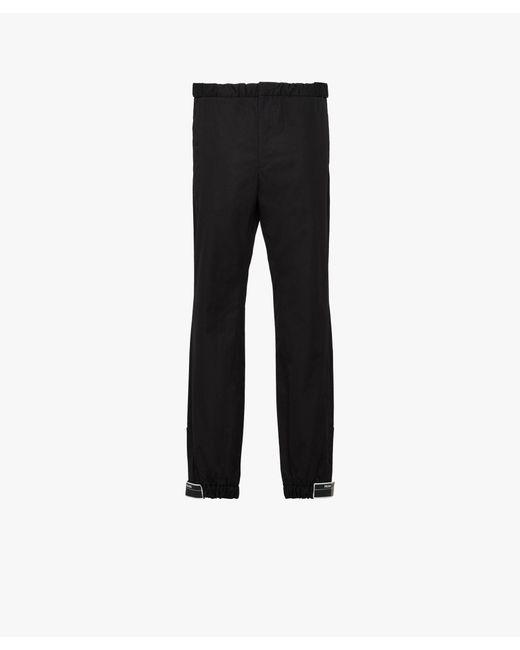 Prada - Black Cotton Trousers With Elasticized Straps for Men - Lyst
