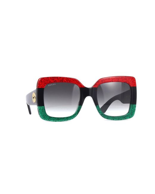 Gucci Multicolor Glittered Gradient Oversized Square Sunglasses, Red/black/green