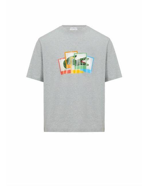 T-shirt imprimé en coton Lacoste en coloris Gray