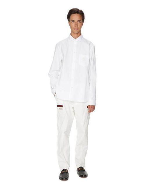 Chemise broderie GG en coton Gucci pour homme en coloris White