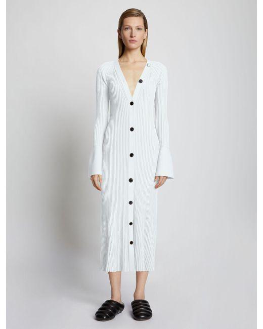 Proenza Schouler White Rib Knit Cardigan Dress