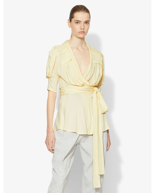 Proenza Schouler Yellow Draped Jersey Wrap Top