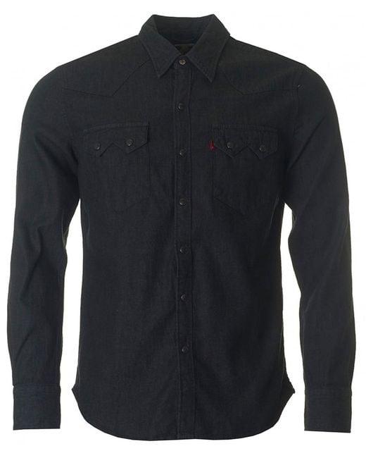 Levi 39 s sawtooth denim shirt in black for men lyst for Mens black levi shirt