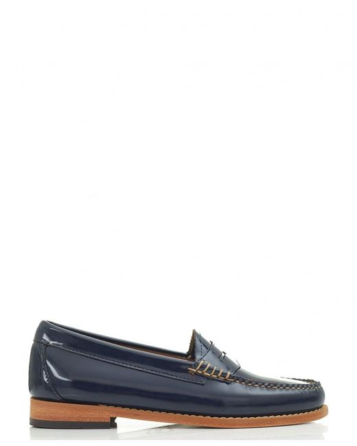 G.H. Bass & Co. | Blue Penny Wheel Patent Leather Loafers | Lyst