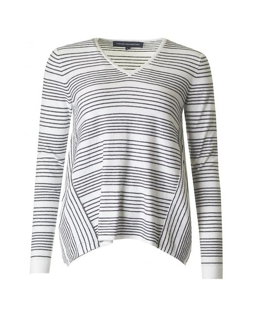 French Connection | White Pinstripe Crochet Oversize Knit | Lyst