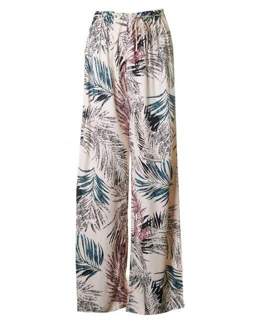 Saint Tropez - Multicolor Palm Print Wide Leg Trousers - Lyst