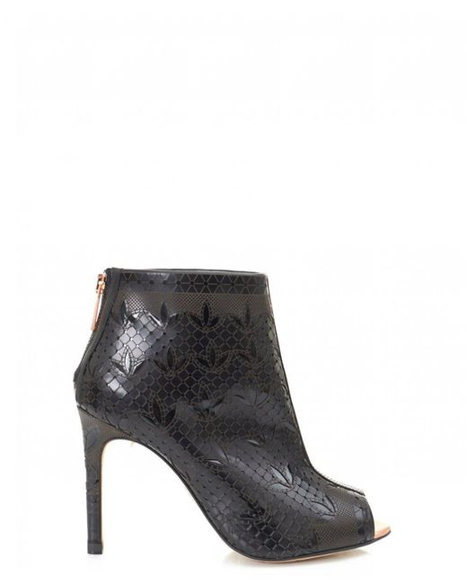 Ted Baker - Black Hauula Laser Cut Peep Toe Ankle Boots - Lyst