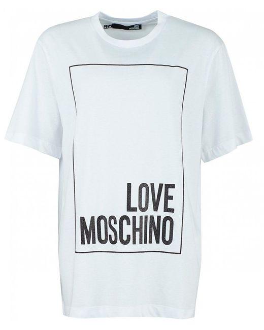 Love Moschino - White Logo Short Sleeve T-shirt - Lyst