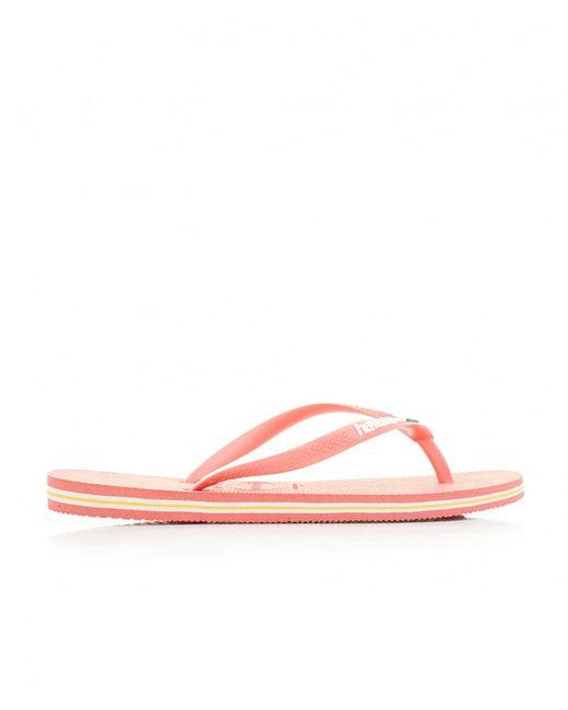 Havaianas Pink Slim Brasil Logo Flip Flops