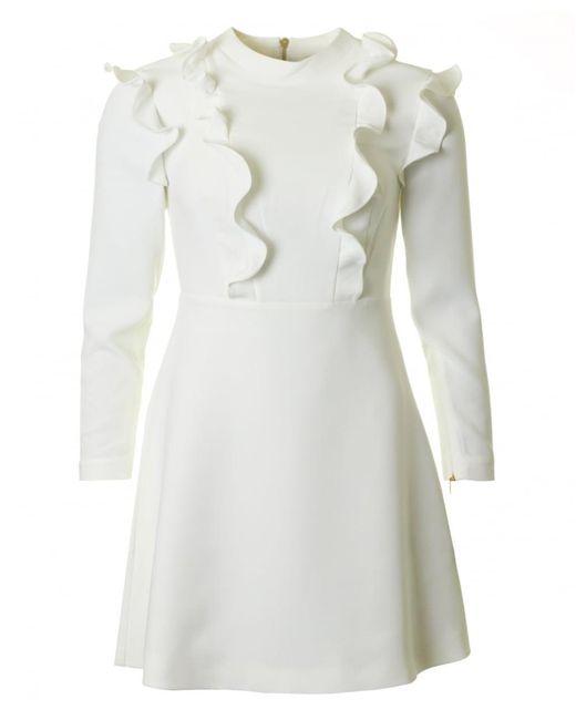 Ted Baker - White Long Sleeved Ruffle Dress - Lyst