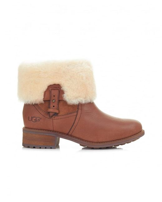Ugg | Brown Chyler Leather Fold Over Boots | Lyst