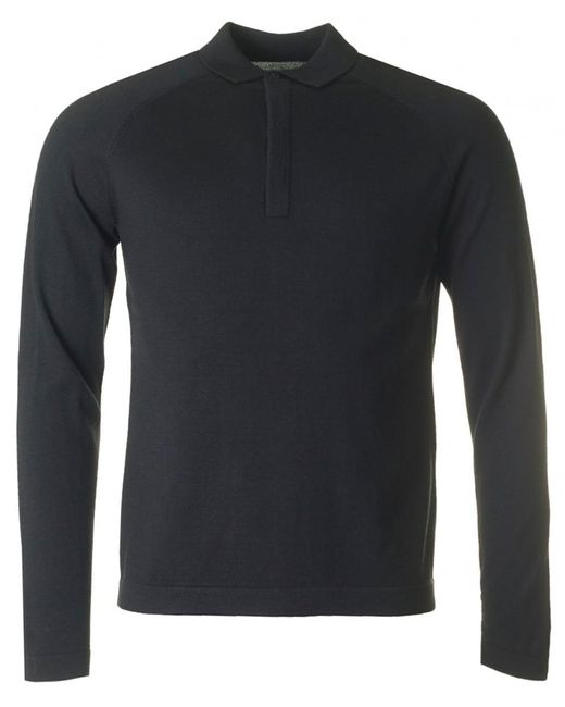 J.Lindeberg | Black File Long Sleeved Knitted Polo for Men | Lyst
