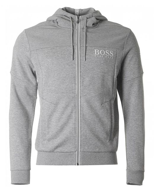 BOSS Athleisure - Gray Saggy Zip Through Hooded Sweat for Men - Lyst