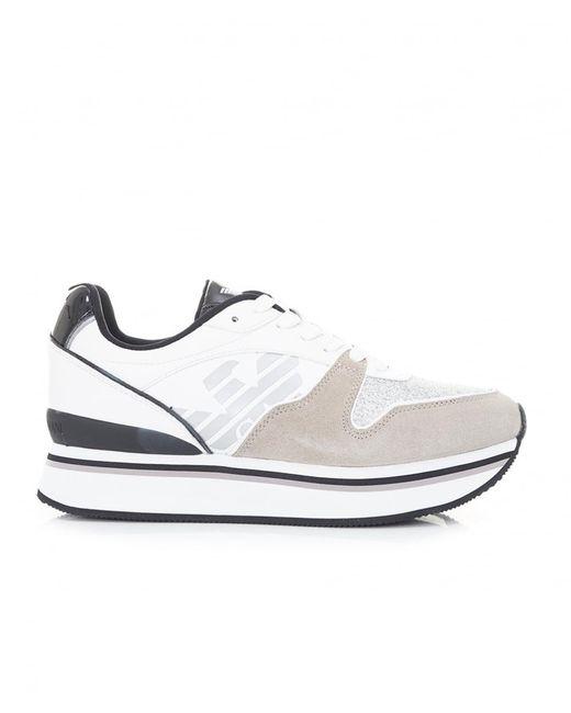 Emporio Armani - White Glitter Logo Trainers - Lyst