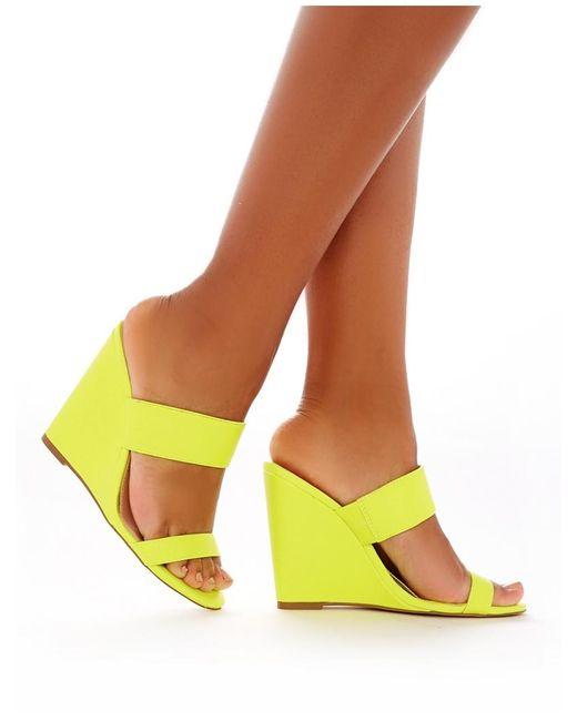 Public Desire Lena Wedge Heeled Mules In Neon Yellow