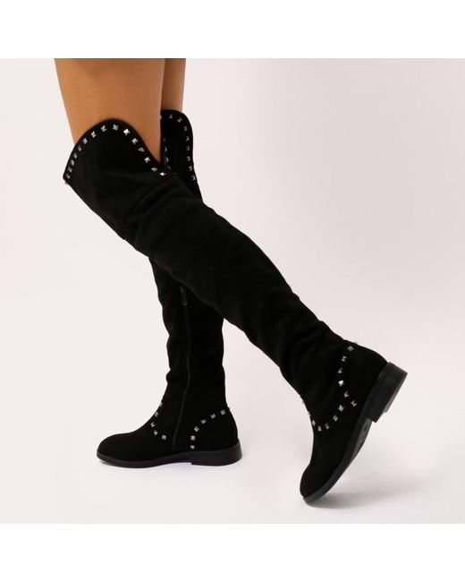 Public Desire Themis Studded Over the Knee Boots in Faux Suede 0yuZkS
