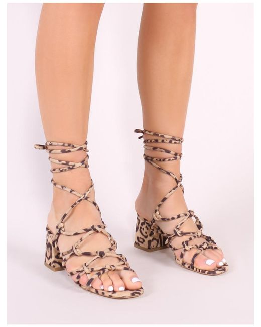 3e2bc4845bb Women's Pink Freya Knotted Strappy Block Heeled Sandals In Leopard Print