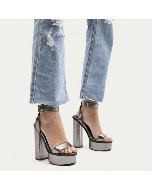Public Desire | Multicolor Valencia Metallic Platform Heels With Trim In Pewter | Lyst