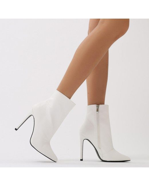 Public Desire | Harlee High Shine Pointed Toe Ankle Boots In White | Lyst