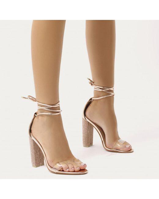 Public Desire Sparkle Diamante Lace Up Heels in Iridescent YMk50lIS