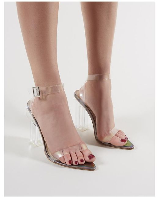 41d7c7f8746 ... Public Desire - Multicolor Motel Strappy Perspex High Heels In Pewter -  Lyst ...