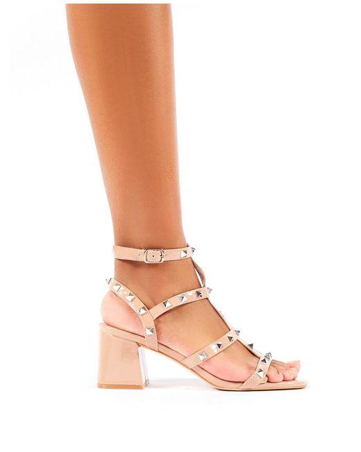 Valentino Rockstud Leather Block-heel Sandal in Black | Lyst