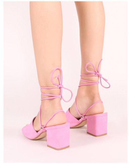 e166130b9a6 Women's Paddington Lace Up Block Heeled Mules In Pink