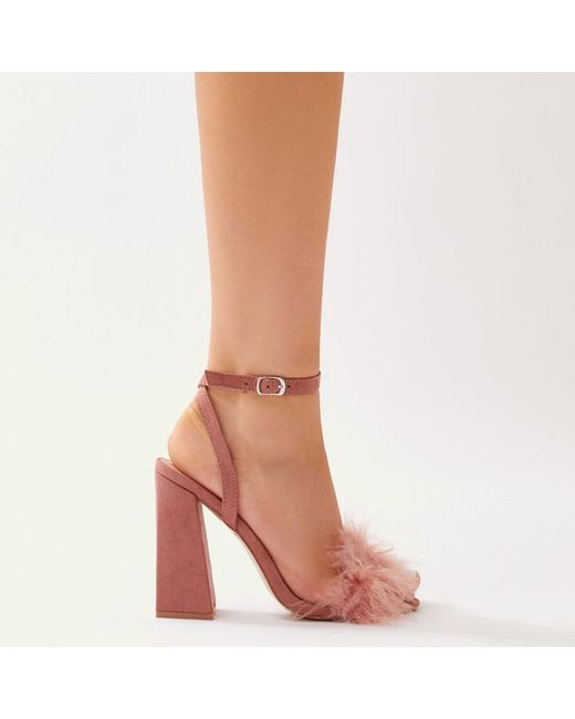 Public Desire Mimi Feather Block Heels in Blush Faux Suede MB5jo