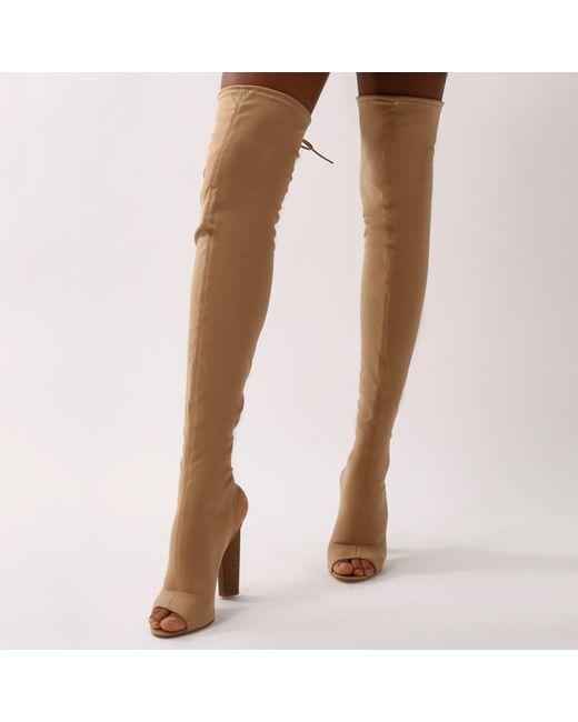 Public Desire - Natural Sidney Peeptoe Sock Fit Boots In Nude - Lyst