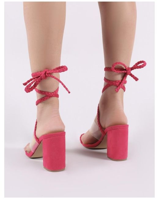 722e801f26 ... Public Desire - Multicolor Mia Lace Up Block Heeled Sandals In Fuchsia  Faux Suede - Lyst ...