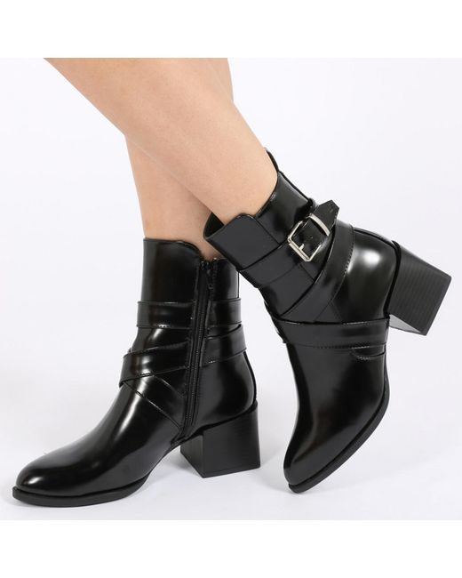 Public Desire - Willa Buckle Detail Cubed Heel Ankle Boots In Black High Shine - Lyst