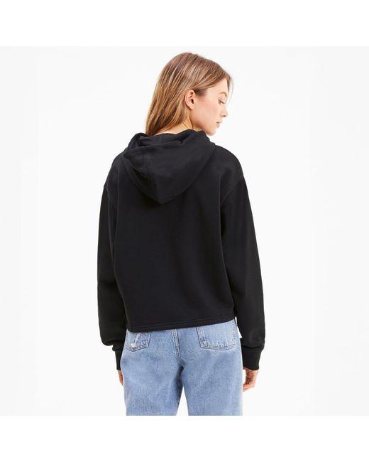 PUMA Amplified Cropped Dameshoodie in het Black