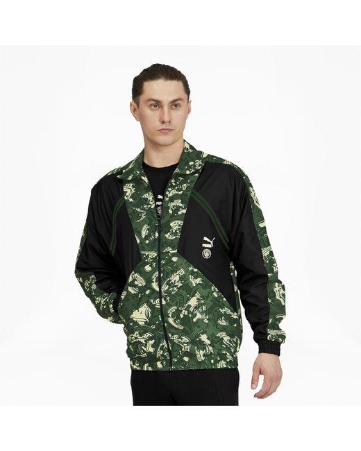 PUMA Green Manchester City Fc Tfs Woven Jacket for men