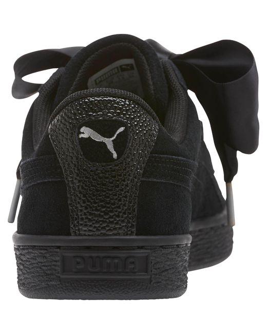 innovative design 28aba faf95 Black Suede Heart Bubble Women's Sneakers