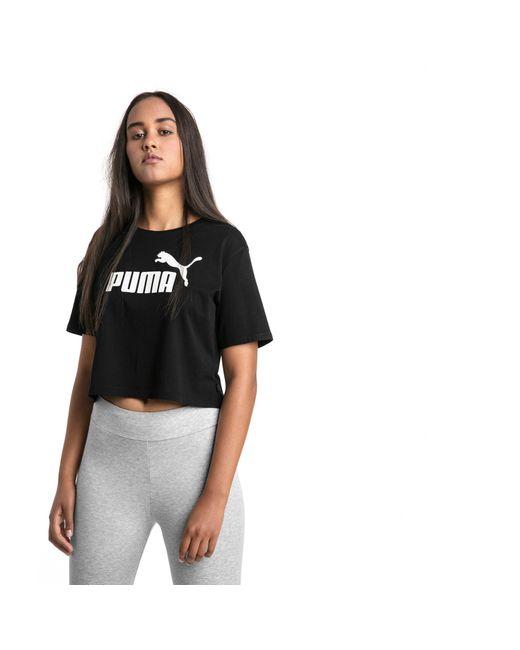 PUMA Black Cropped Logo T-Shirt