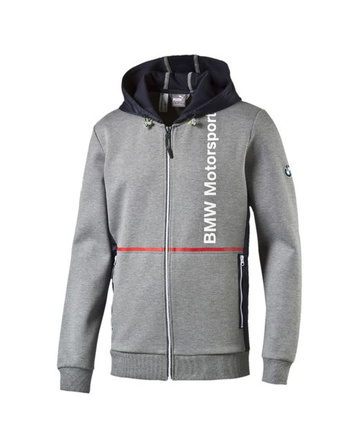 Puma Bmw Zip Up Hoodie In Gray For Men Medium Gray