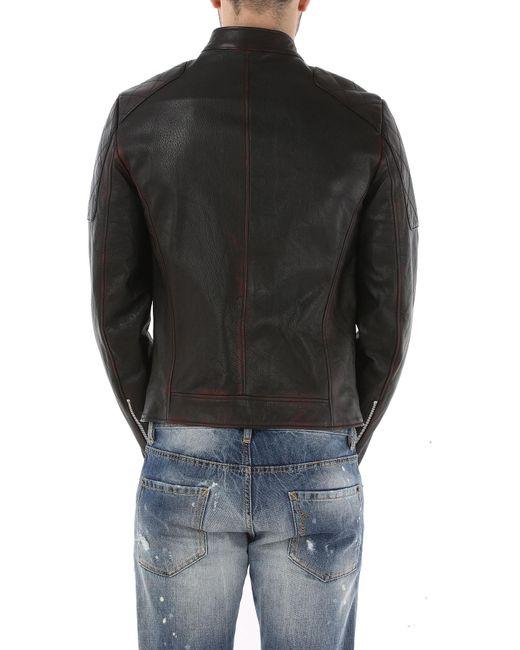 magasin en ligne 52dda ca672 Veste Cuir Homme Pas cher en Soldes Outlet de coloris noir