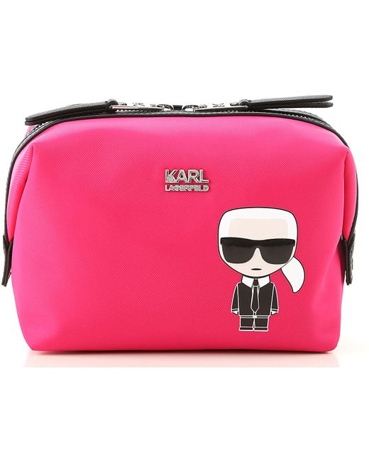 Karl Lagerfeld Pink Makeup Bag Cosmetic Case For Women