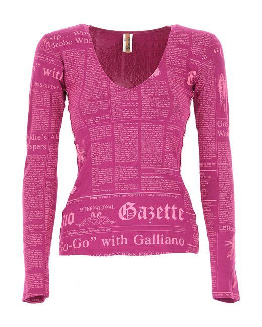 John Galliano - Purple T-shirt For Women On Sale - Lyst