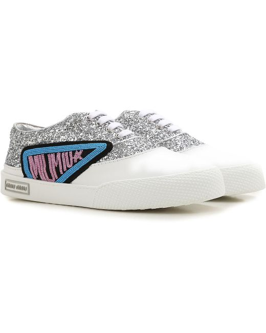 5ba9ae54011 Miu Miu - White Sneakers For Women On Sale In Outlet - Lyst ...