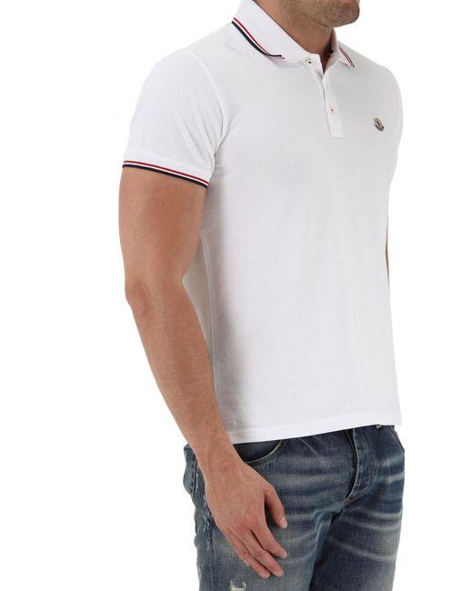 52f09defe ... Moncler - White Polo Shirt For Men On Sale for Men - Lyst ...