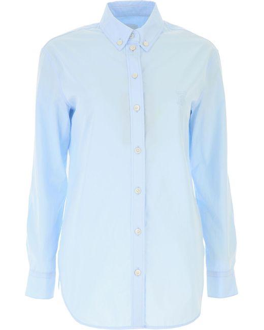 Burberry Camisa de Mujer Baratos en Rebajas Outlet de color azul k2yF4