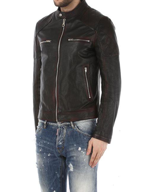 Veste Cuir Homme Pas cher en Soldes Outlet de coloris noir